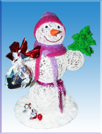 снеговик-из-ниток-своими-руками