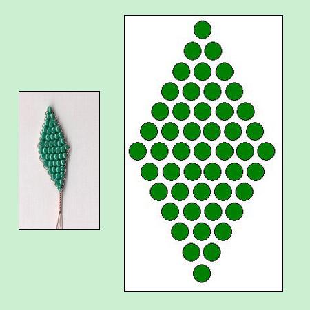 французское плетение бисером роза схема