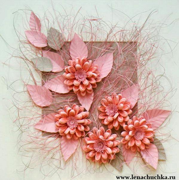 Картины своими руками цветы из бумаги фото