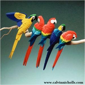 Картины-из-бумаги---попугаи