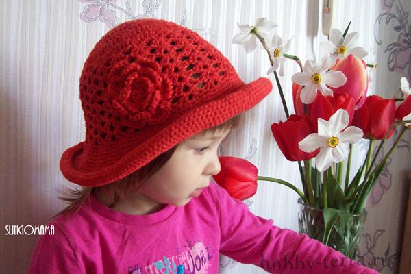 Шляпка-для-маленькой-модницы---вязание-крючком