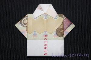 Оригами-рубашка-из-купюры