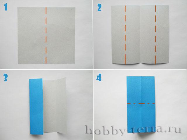 Оригами-бабочка-этапы-1-4