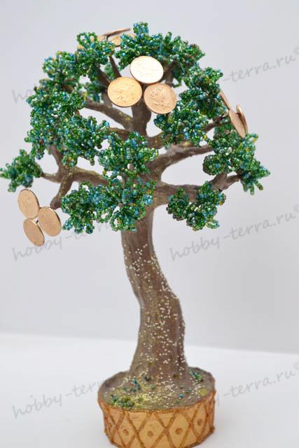 Изготовить красивое дерево из бисера