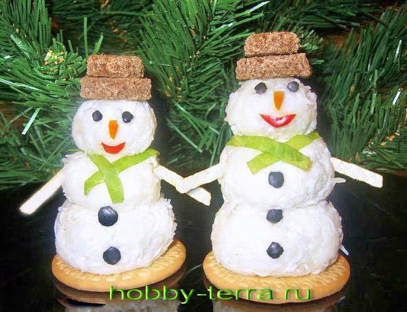 снеговики из творога