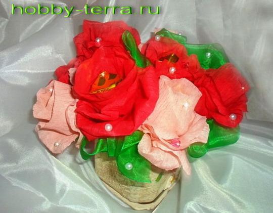 Букет розочек с конфетами