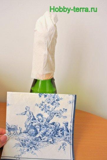 03-Staryye vospominaniya. Ideya dekorirovaniya butylki shampanskogo