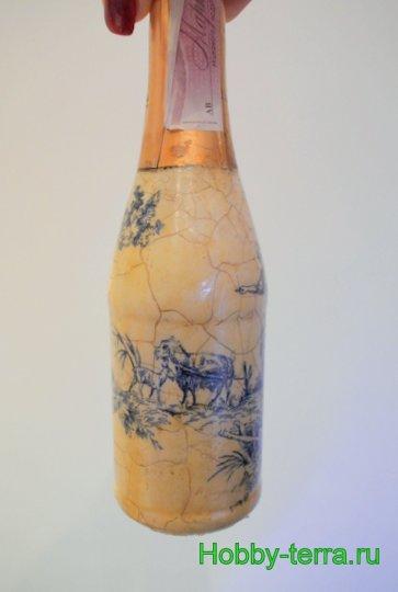 14-Staryye vospominaniya. Ideya dekorirovaniya butylki shampanskogo