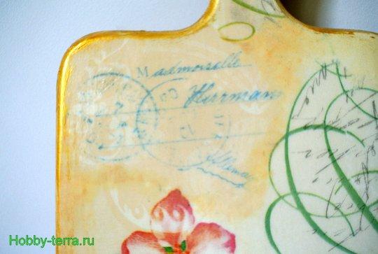 18-Solov'inyye treli. Dekorirovaniye razdelochnoy doski v tekhnike dekupazh