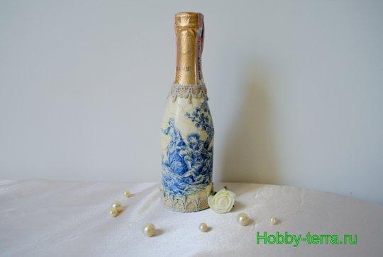 22-Staryye vospominaniya. Ideya dekorirovaniya butylki shampanskogo