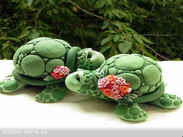 черепахи из полимерной глины