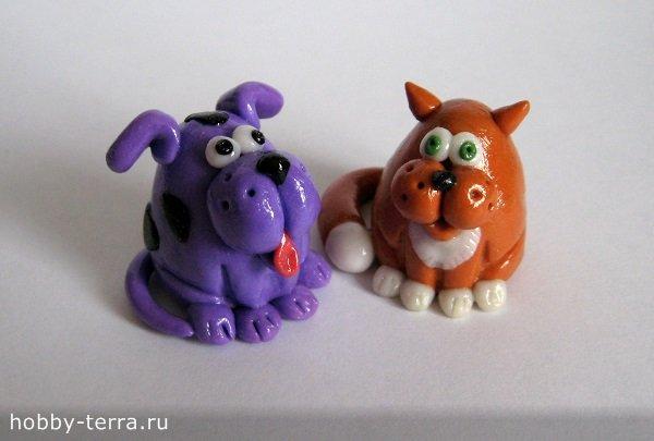 Песик и кот из полимерной глины