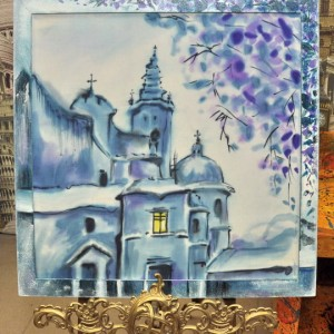 картина батик синий храм