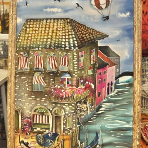 картина батик Город на воде