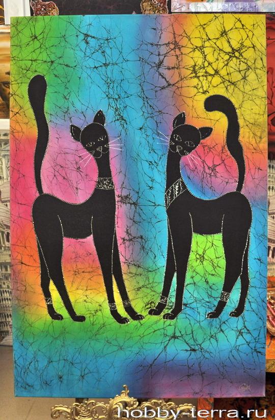 картина батик Черные кошки