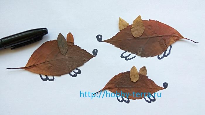 фигурки мышек из листьев